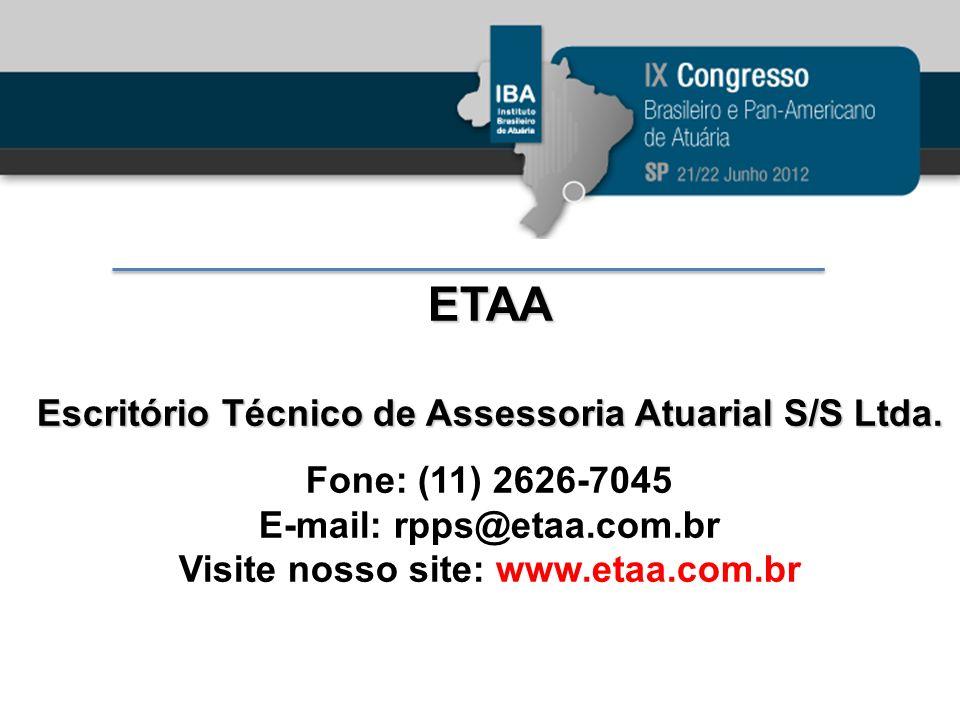 ETAA Escritório Técnico de Assessoria Atuarial S/S Ltda. Fone: (11) 2626-7045 E-mail: rpps@etaa.com.br Visite nosso site: www.etaa.com.br