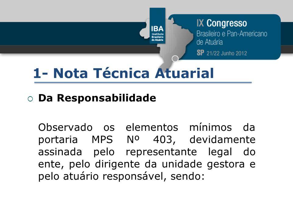 1- Nota Técnica Atuarial Da Responsabilidade Observado os elementos mínimos da portaria MPS Nº 403, devidamente assinada pelo representante legal do e