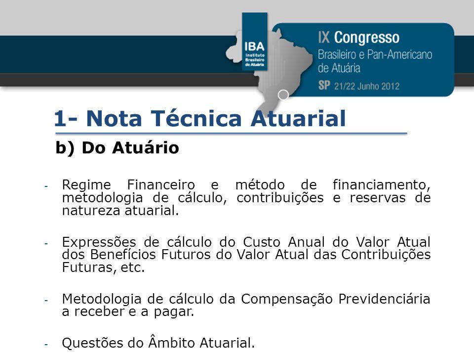 1- Nota Técnica Atuarial b) Do Atuário - Regime Financeiro e método de financiamento, metodologia de cálculo, contribuições e reservas de natureza atu