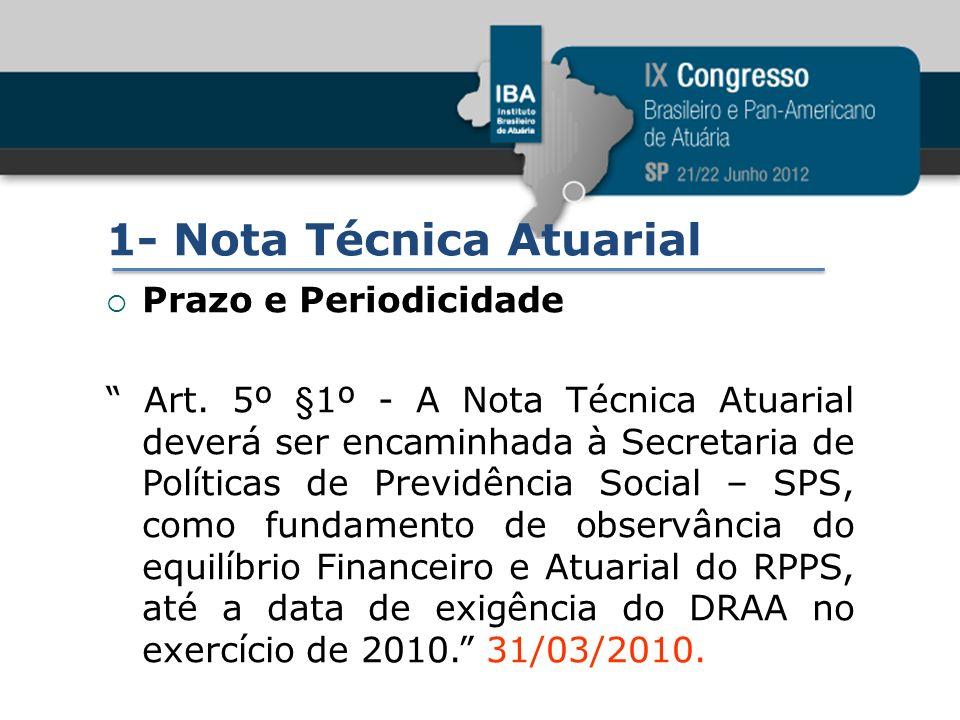 1- Nota Técnica Atuarial Prazo e Periodicidade Art. 5º §1º - A Nota Técnica Atuarial deverá ser encaminhada à Secretaria de Políticas de Previdência S
