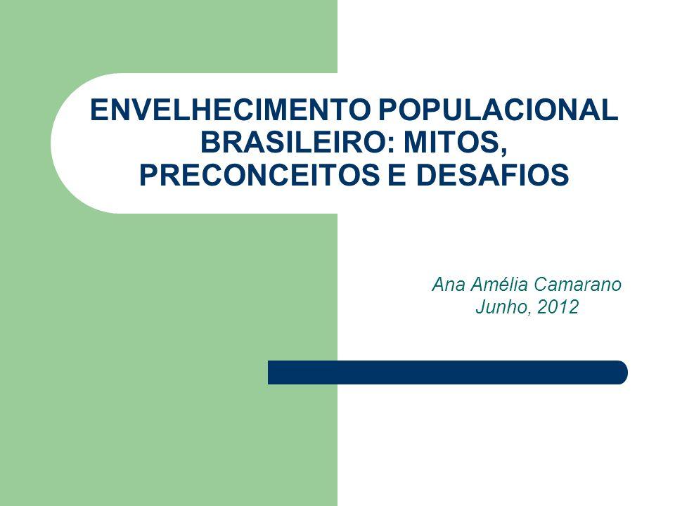 ENVELHECIMENTO POPULACIONAL BRASILEIRO: MITOS, PRECONCEITOS E DESAFIOS Ana Amélia Camarano Junho, 2012