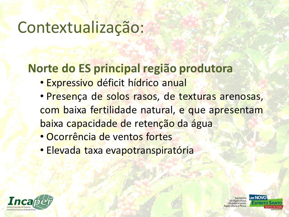 Contextualização: Norte do ES principal região produtora Expressivo déficit hídrico anual Presença de solos rasos, de texturas arenosas, com baixa fer