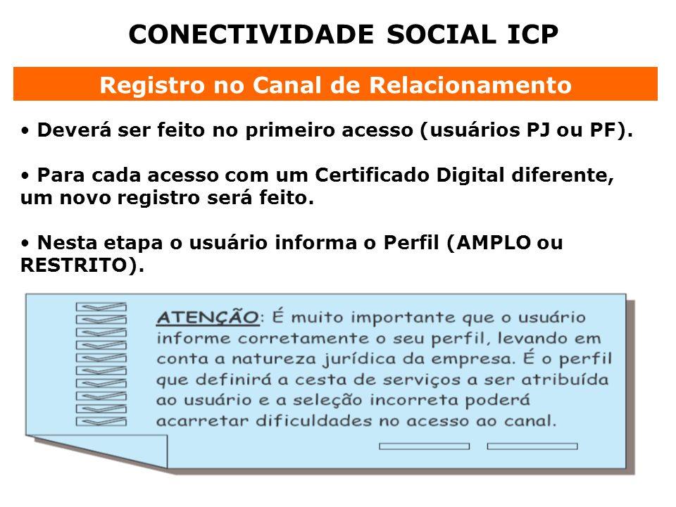 CONECTIVIDADE SOCIAL ICP Registro no Canal de Relacionamento Deverá ser feito no primeiro acesso (usuários PJ ou PF). Para cada acesso com um Certific