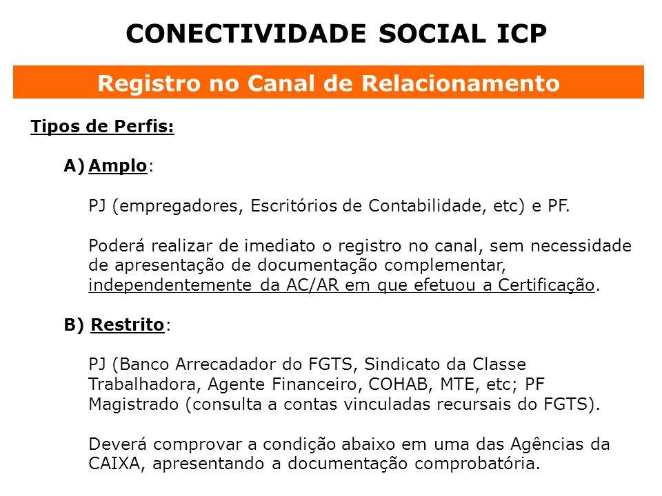 CONECTIVIDADE SOCIAL ICP Registro no Canal de Relacionamento Tipos de Perfis: A)Amplo: PJ (empregadores, Escritórios de Contabilidade, etc) e PF. Pode
