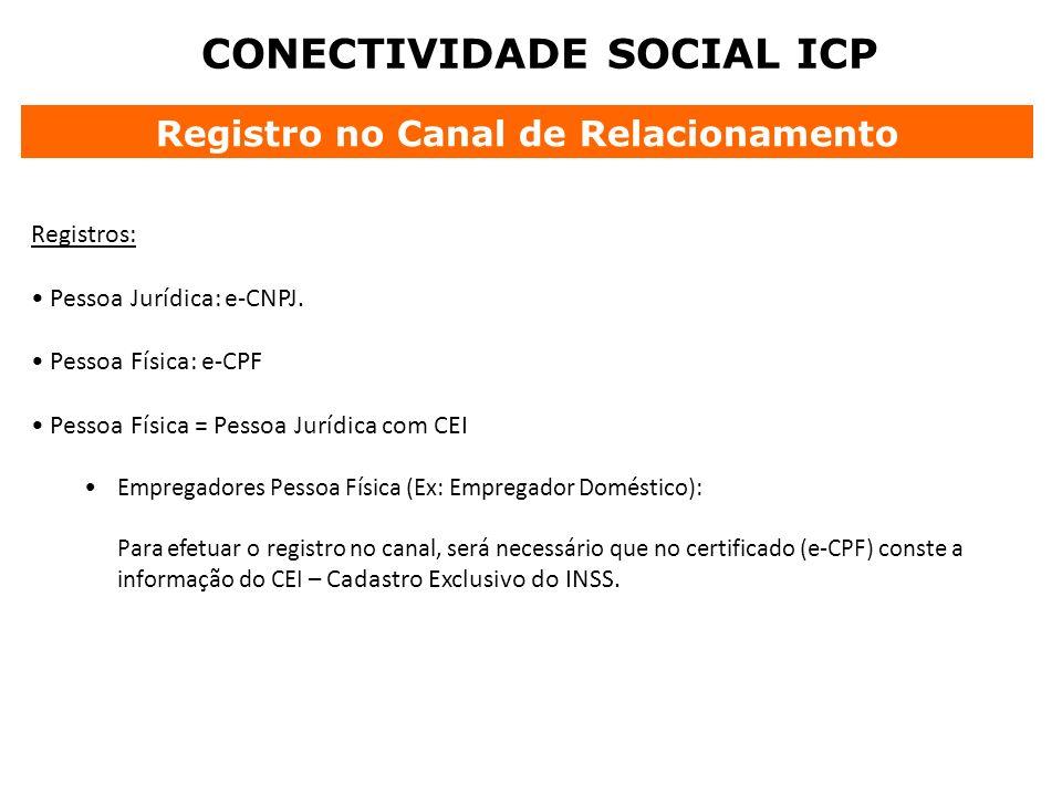 CONECTIVIDADE SOCIAL ICP Registro no Canal de Relacionamento Registros: Pessoa Jurídica: e-CNPJ. Pessoa Física: e-CPF Pessoa Física = Pessoa Jurídica