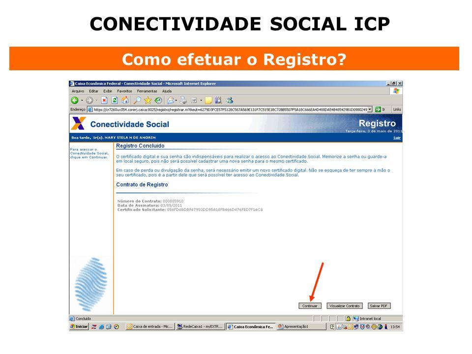 CONECTIVIDADE SOCIAL ICP Como efetuar o Registro?