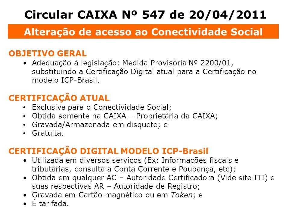 Circular CAIXA Nº 547 de 20/04/2011 OBJETIVO GERAL Adequação à legislação: Medida Provisória Nº 2200/01, substituindo a Certificação Digital atual par