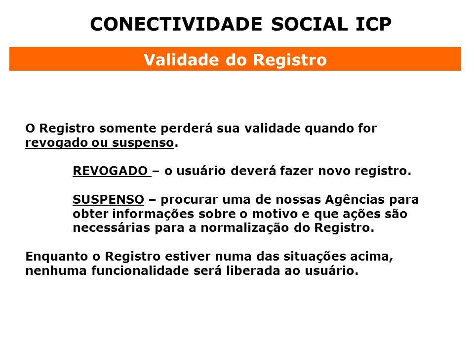 CONECTIVIDADE SOCIAL ICP Validade do Registro O Registro somente perderá sua validade quando for revogado ou suspenso. REVOGADO – o usuário deverá faz