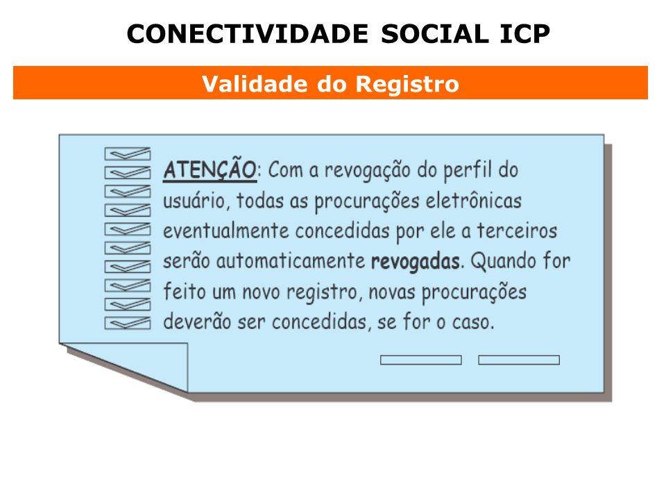 CONECTIVIDADE SOCIAL ICP Validade do Registro