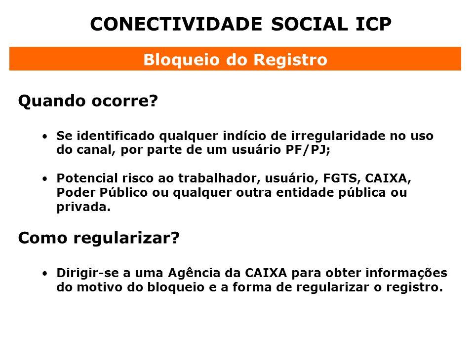 CONECTIVIDADE SOCIAL ICP Bloqueio do Registro Quando ocorre? Se identificado qualquer indício de irregularidade no uso do canal, por parte de um usuár