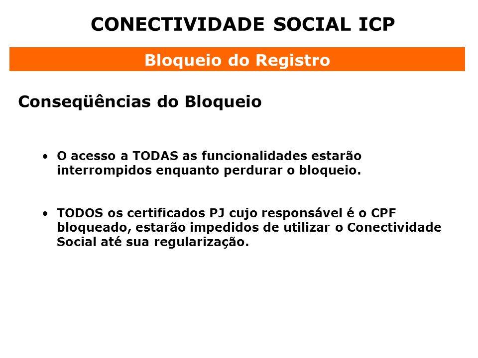 CONECTIVIDADE SOCIAL ICP Bloqueio do Registro Conseqüências do Bloqueio O acesso a TODAS as funcionalidades estarão interrompidos enquanto perdurar o