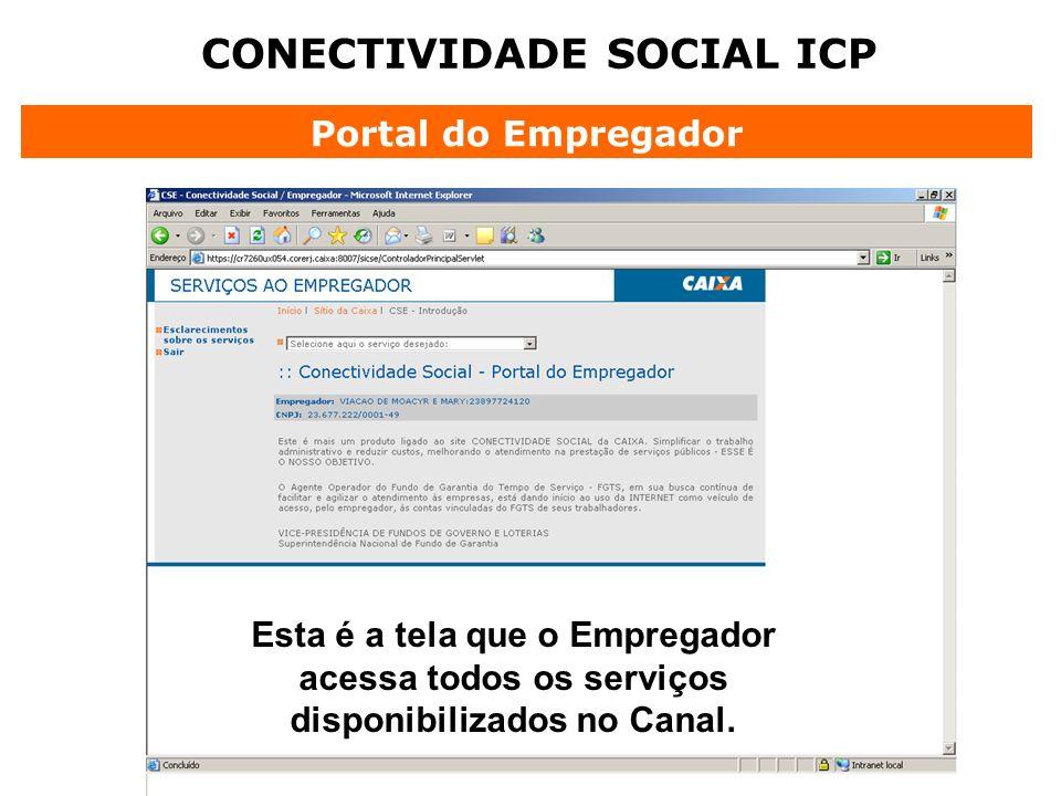 CONECTIVIDADE SOCIAL ICP Portal do Empregador Esta é a tela que o Empregador acessa todos os serviços disponibilizados no Canal.