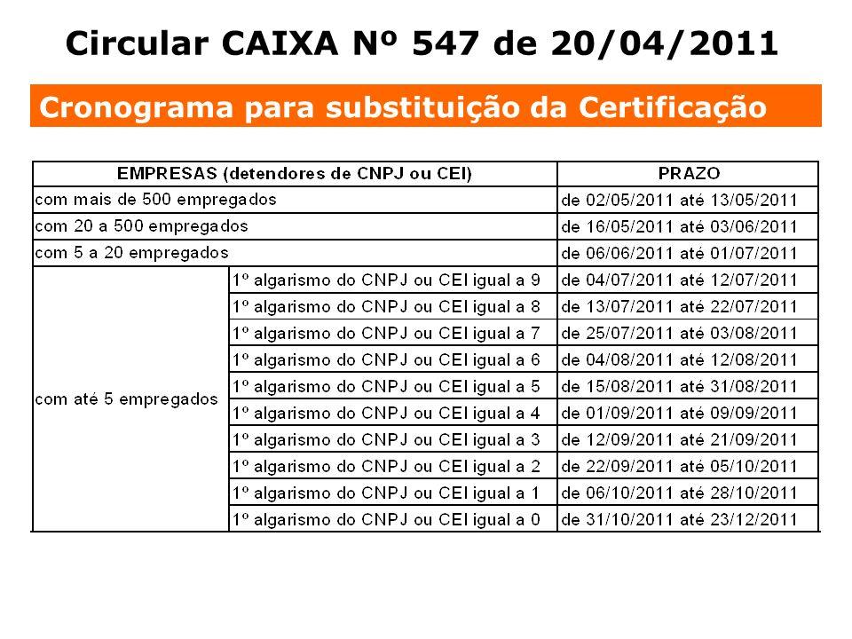 Cronograma para substituição da Certificação Circular CAIXA Nº 547 de 20/04/2011