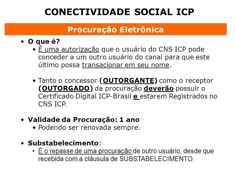 CONECTIVIDADE SOCIAL ICP O que é? É uma autorização que o usuário do CNS ICP pode conceder a um outro usuário do canal para que este último possa tran