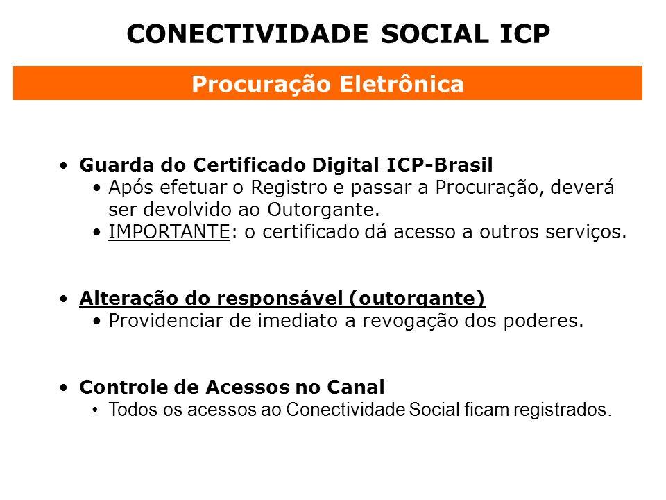 CONECTIVIDADE SOCIAL ICP Guarda do Certificado Digital ICP-Brasil Após efetuar o Registro e passar a Procuração, deverá ser devolvido ao Outorgante. I