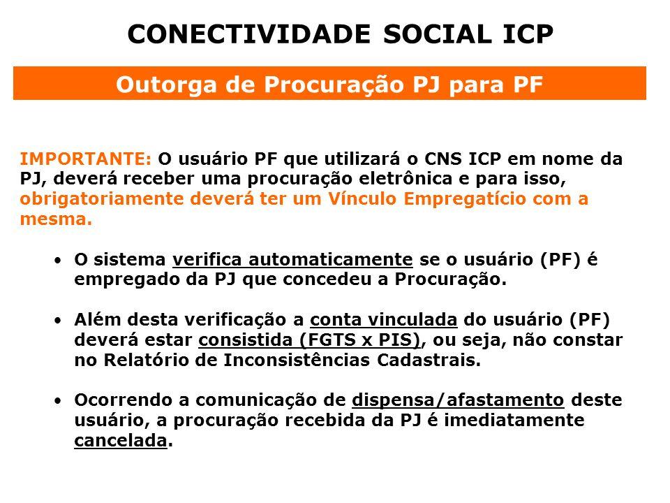 CONECTIVIDADE SOCIAL ICP IMPORTANTE: O usuário PF que utilizará o CNS ICP em nome da PJ, deverá receber uma procuração eletrônica e para isso, obrigat