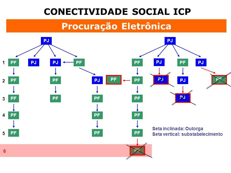 CONECTIVIDADE SOCIAL ICP Procuração Eletrônica PJ PF PJ PF PJ PF 1 2 4 3 5 6 Seta inclinada: Outorga Seta vertical: substabelecimento