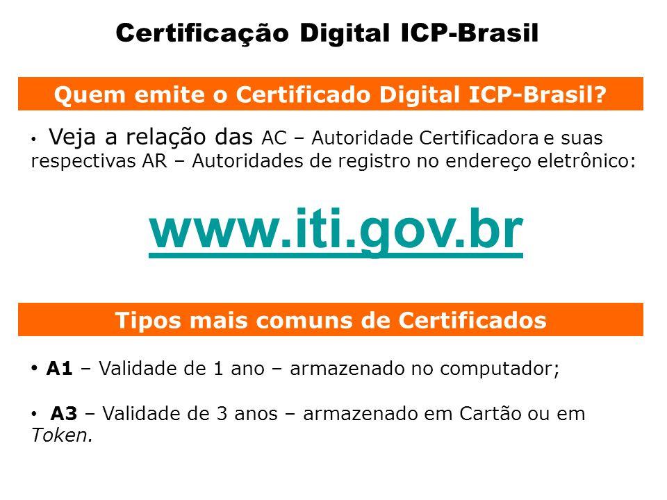 Certificação Digital ICP-Brasil A1 – Validade de 1 ano – armazenado no computador; A3 – Validade de 3 anos – armazenado em Cartão ou em Token. Tipos m