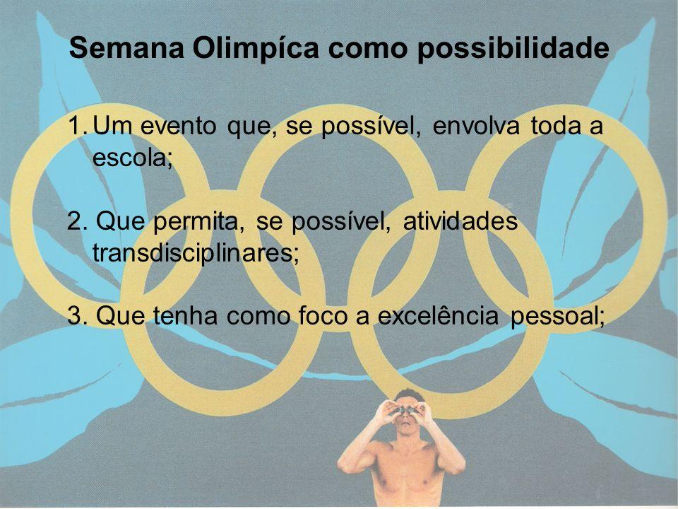 11 Semana Olimpíca como possibilidade 1.Um evento que, se possível, envolva toda a escola; 2. Que permita, se possível, atividades transdisciplinares;