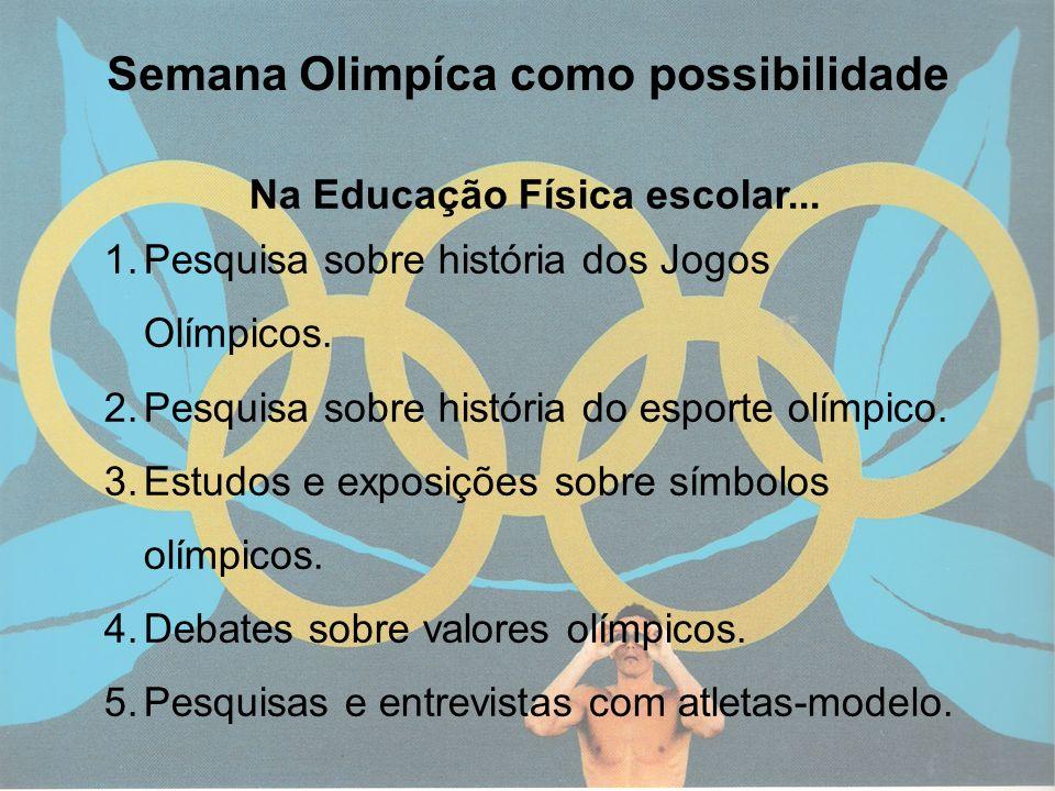 12 Semana Olimpíca como possibilidade Na Educação Física escolar... 1.Pesquisa sobre história dos Jogos Olímpicos. 2.Pesquisa sobre história do esport