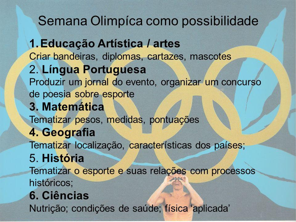13 Semana Olimpíca como possibilidade 1.Educação Artística / artes Criar bandeiras, diplomas, cartazes, mascotes 2. Língua Portuguesa Produzir um jorn