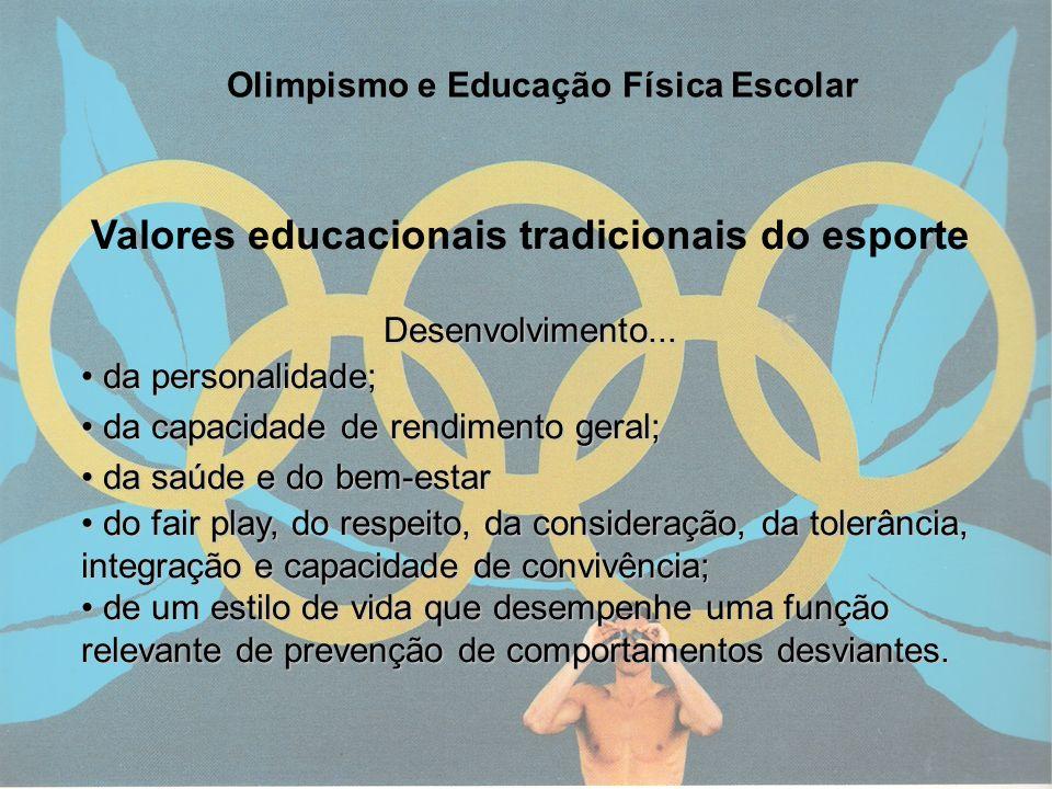 4 Olimpismo e Educação Física Escolar Valores educacionais tradicionais do esporteDesenvolvimento... da personalidade; da personalidade; da capacidade