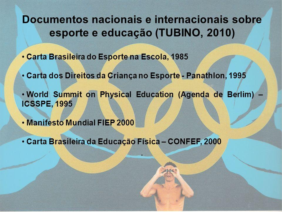 5 Documentos nacionais e internacionais sobre esporte e educação (TUBINO, 2010) Carta Brasileira do Esporte na Escola, 1985 Carta dos Direitos da Cria