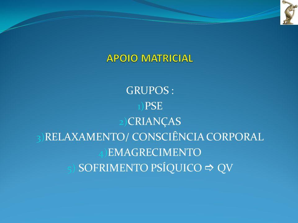 GRUPOS : 1) PSE 2) CRIANÇAS 3) RELAXAMENTO/ CONSCIÊNCIA CORPORAL 4) EMAGRECIMENTO 5) SOFRIMENTO PSÍQUICO QV