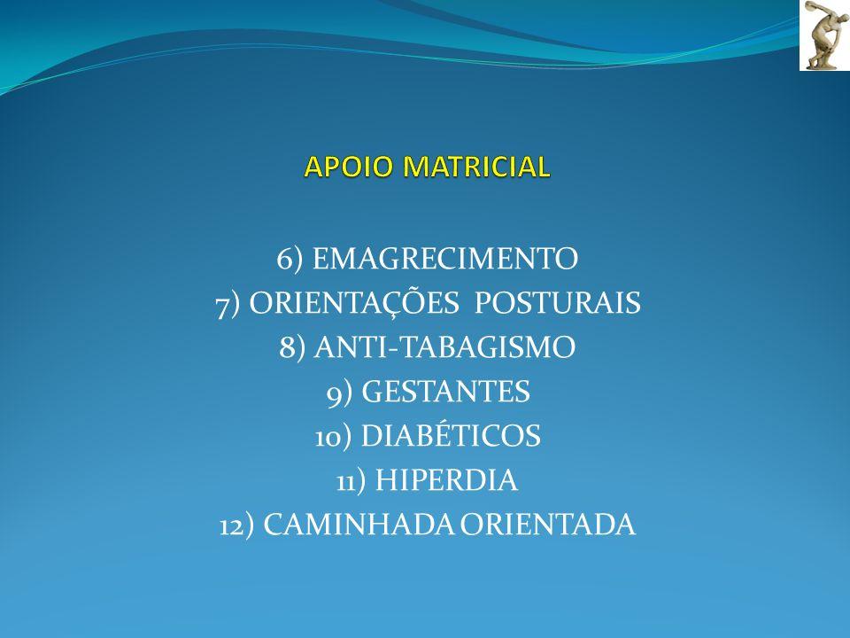 6) EMAGRECIMENTO 7) ORIENTAÇÕES POSTURAIS 8) ANTI-TABAGISMO 9) GESTANTES 10) DIABÉTICOS 11) HIPERDIA 12) CAMINHADA ORIENTADA
