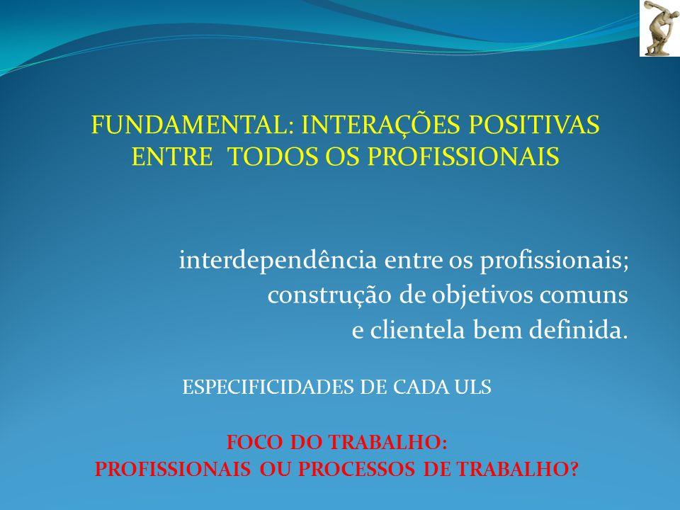 interdependência entre os profissionais; construção de objetivos comuns e clientela bem definida. ESPECIFICIDADES DE CADA ULS FOCO DO TRABALHO: PROFIS