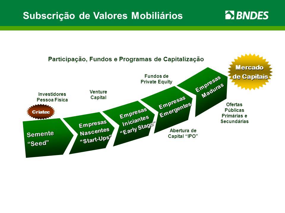 Subscrição de Valores Mobiliários Ofertas Públicas Primárias e Secundárias Fundos de Private Equity Venture Capital EmpresasNascentesStart-Ups Semente