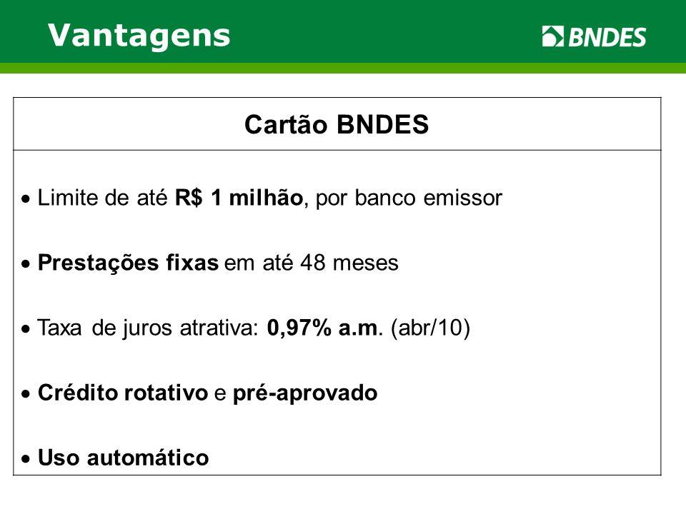 Vantagens Cartão BNDES Limite de até R$ 1 milhão, por banco emissor Prestações fixas em até 48 meses Taxa de juros atrativa: 0,97% a.m. (abr/10) Crédi