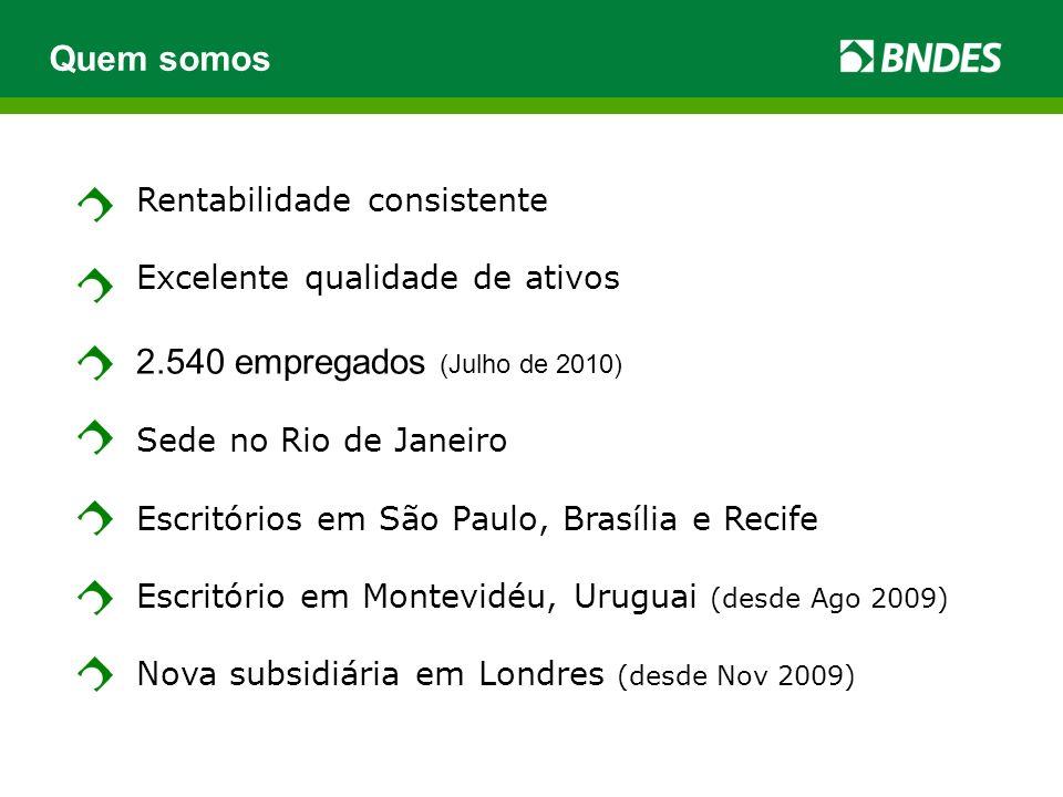 Rentabilidade consistente Excelente qualidade de ativos 2.540 empregados (Julho de 2010) Sede no Rio de Janeiro Escritórios em São Paulo, Brasília e Recife Escritório em Montevidéu, Uruguai (desde Ago 2009) Nova subsidiária em Londres (desde Nov 2009) Quem somos
