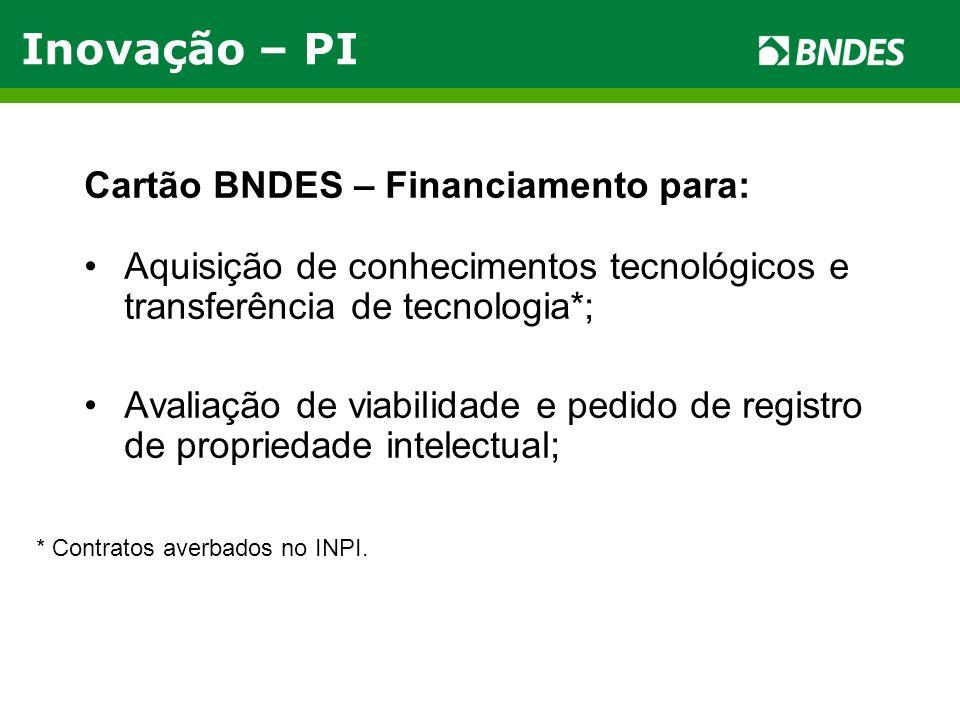 Cartão BNDES – Financiamento para: Aquisição de conhecimentos tecnológicos e transferência de tecnologia*; Avaliação de viabilidade e pedido de regist