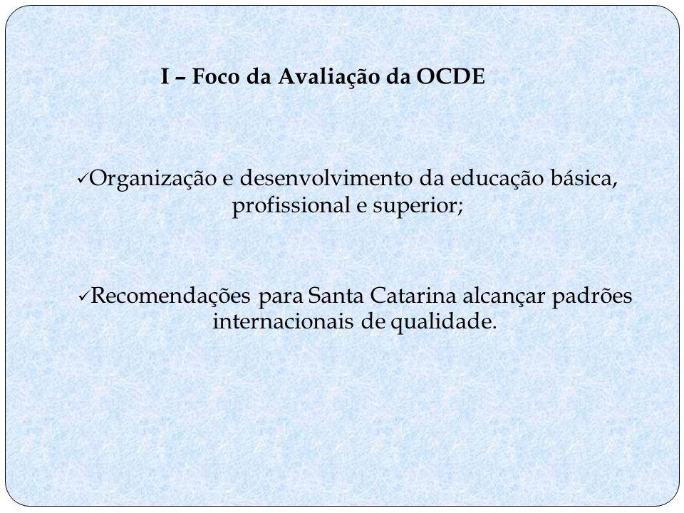 Recomendações para Santa Catarina alcançar padrões internacionais de qualidade. I – Foco da Avaliação da OCDE Organização e desenvolvimento da educaçã