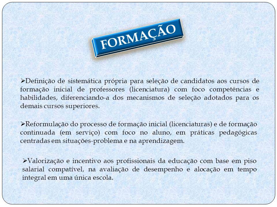 Reformulação do processo de formação inicial (licenciaturas) e de formação continuada (em serviço) com foco no aluno, em práticas pedagógicas centrada