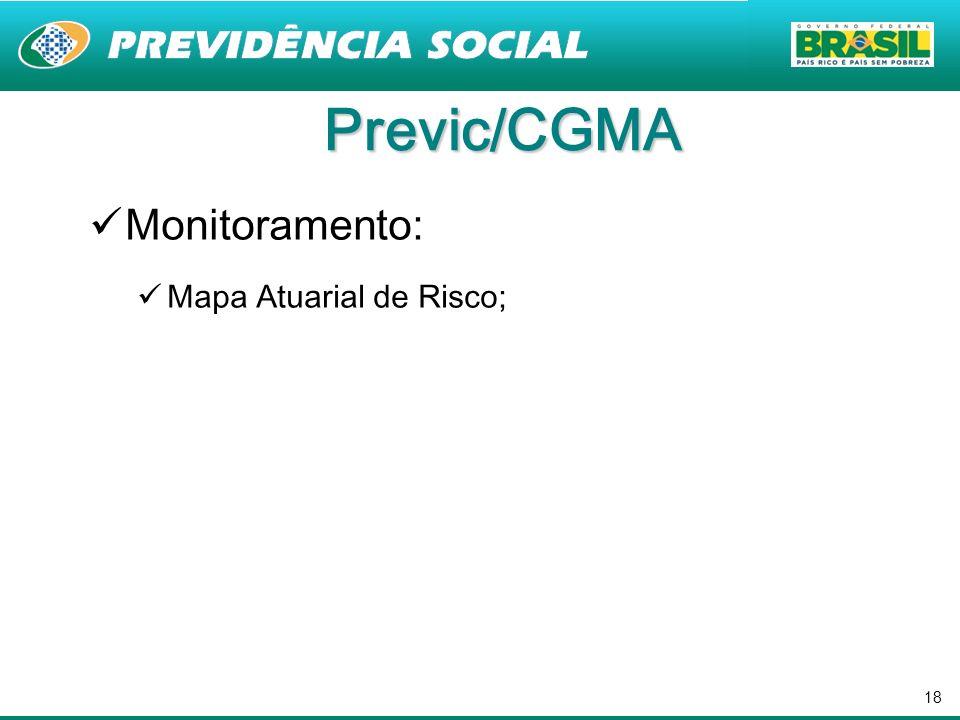18 Previc/CGMA Monitoramento: Mapa Atuarial de Risco;