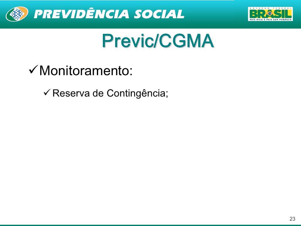 23 Previc/CGMA Monitoramento: Reserva de Contingência;
