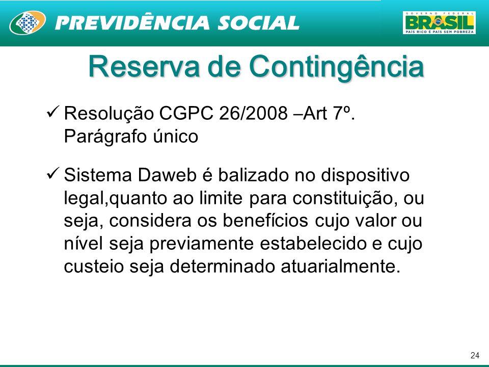 24 Reserva de Contingência Resolução CGPC 26/2008 –Art 7º. Parágrafo único Sistema Daweb é balizado no dispositivo legal,quanto ao limite para constit
