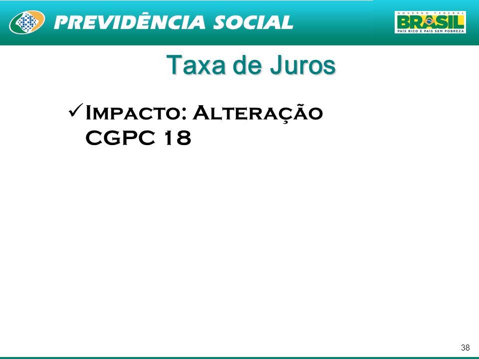 38 Taxa de Juros Impacto: Alteração CGPC 18