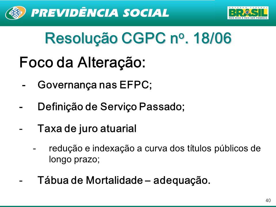 40 Foco da Alteração: - Governança nas EFPC; - Definição de Serviço Passado; -Taxa de juro atuarial -redução e indexação a curva dos títulos públicos