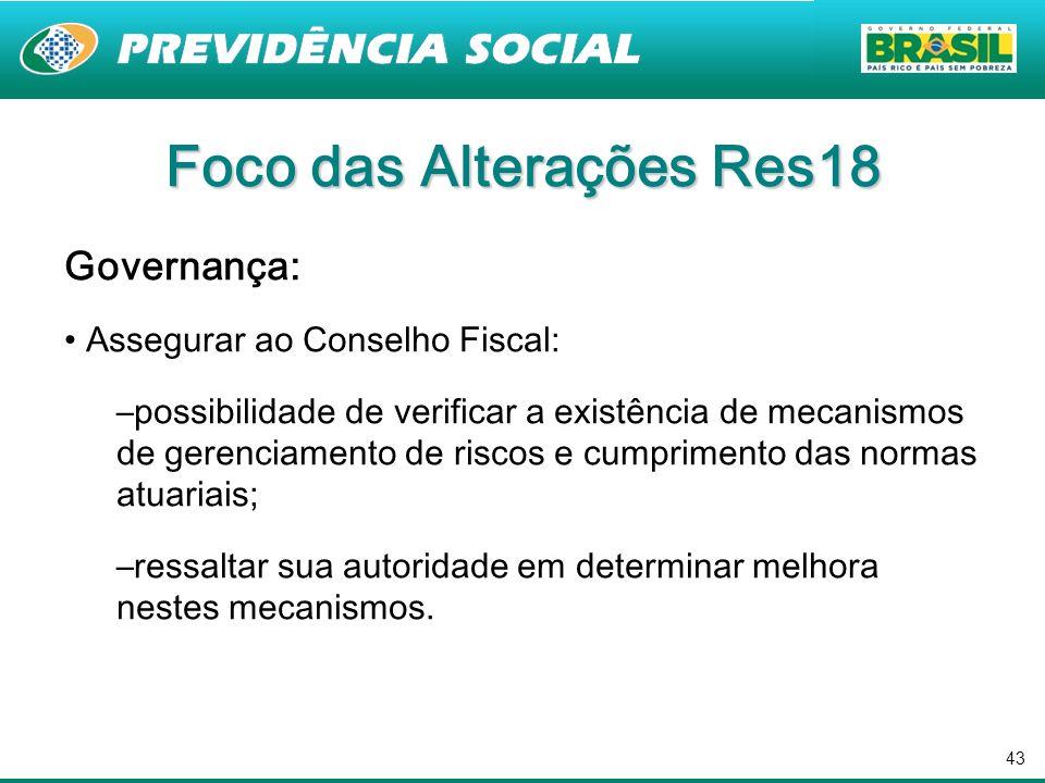 43 Foco das Alterações Res18 Governança: Assegurar ao Conselho Fiscal: –possibilidade de verificar a existência de mecanismos de gerenciamento de risc