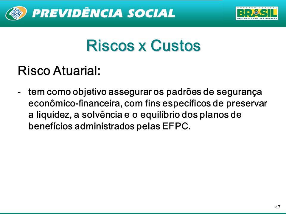 47 Riscos x Custos Risco Atuarial: -tem como objetivo assegurar os padrões de segurança econômico-financeira, com fins específicos de preservar a liqu