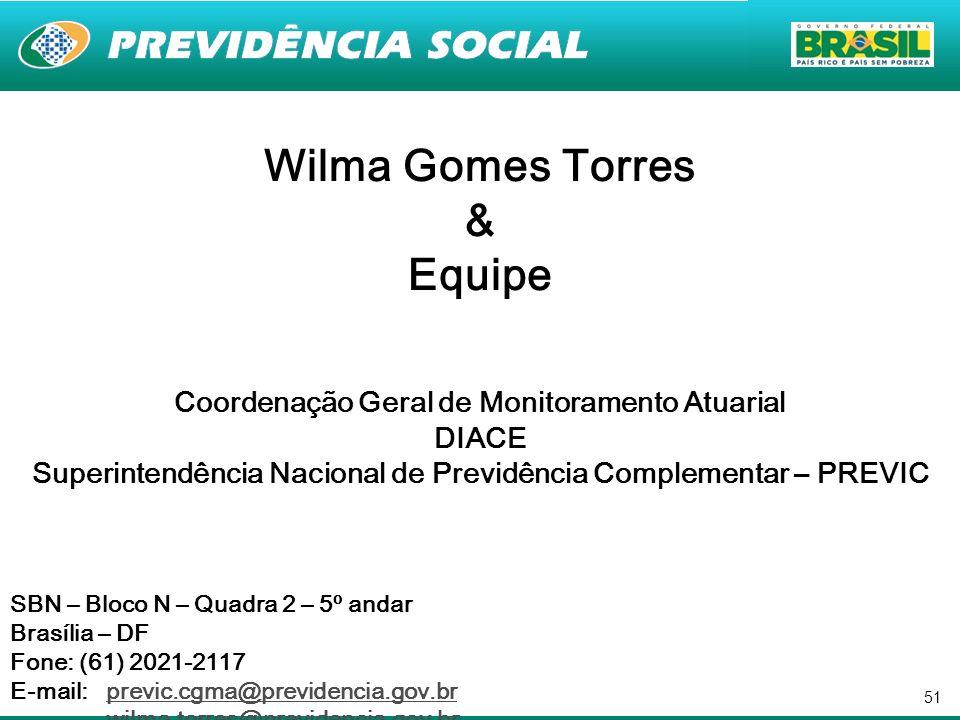 51 Wilma Gomes Torres & Equipe Coordenação Geral de Monitoramento Atuarial DIACE Superintendência Nacional de Previdência Complementar – PREVIC SBN –