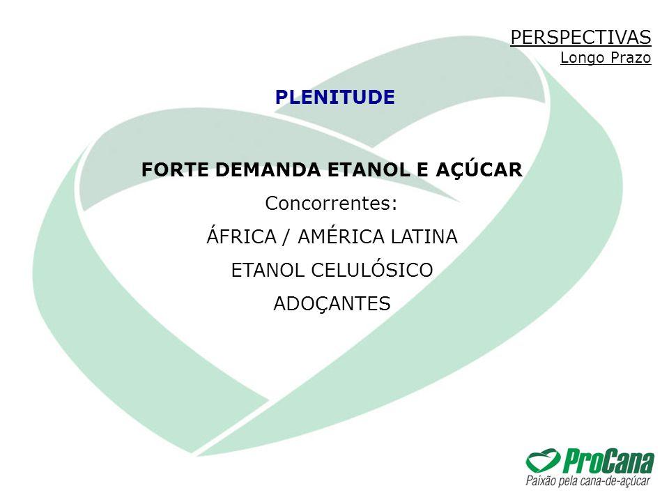 FORTE DEMANDA ETANOL E AÇÚCAR Concorrentes: ÁFRICA / AMÉRICA LATINA ETANOL CELULÓSICO ADOÇANTES PLENITUDE PERSPECTIVAS Longo Prazo
