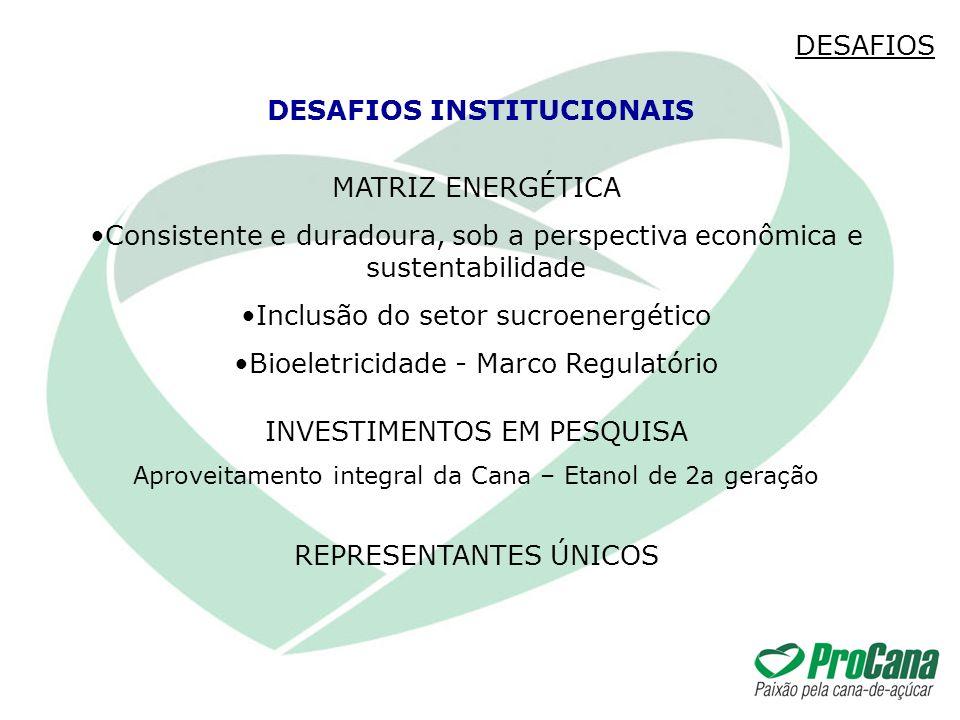 MATRIZ ENERGÉTICA Consistente e duradoura, sob a perspectiva econômica e sustentabilidade Inclusão do setor sucroenergético Bioeletricidade - Marco Re