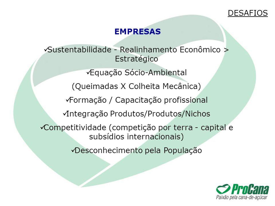 DESAFIOS EMPRESAS Sustentabilidade - Realinhamento Econômico > Estratégico Equação Sócio-Ambiental (Queimadas X Colheita Mecânica) Formação / Capacita