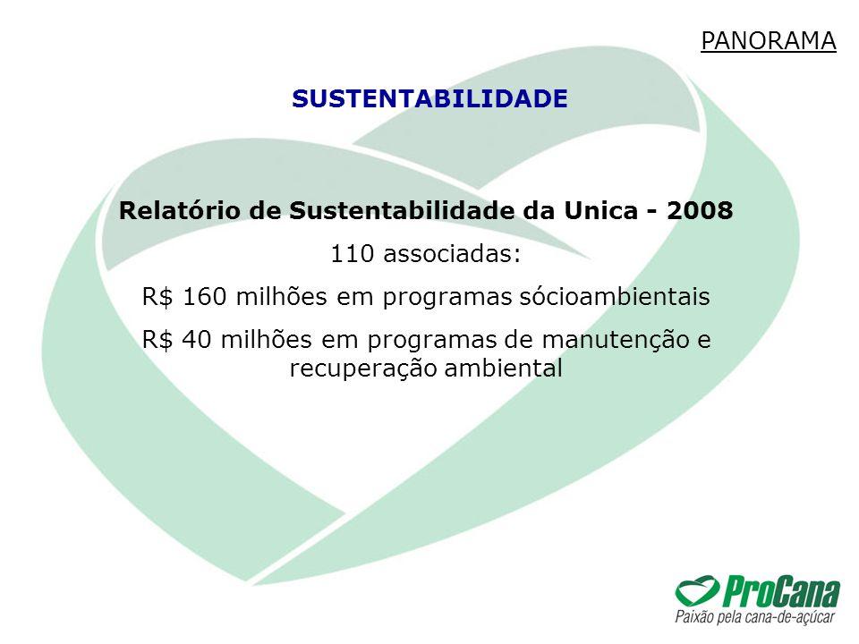 Relatório de Sustentabilidade da Unica - 2008 110 associadas: R$ 160 milhões em programas sócioambientais R$ 40 milhões em programas de manutenção e r