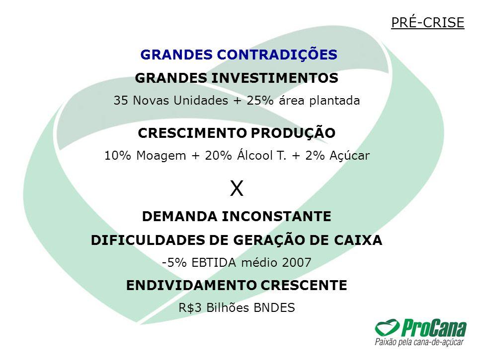 GRANDES INVESTIMENTOS 35 Novas Unidades + 25% área plantada CRESCIMENTO PRODUÇÃO 10% Moagem + 20% Álcool T. + 2% Açúcar X DEMANDA INCONSTANTE DIFICULD