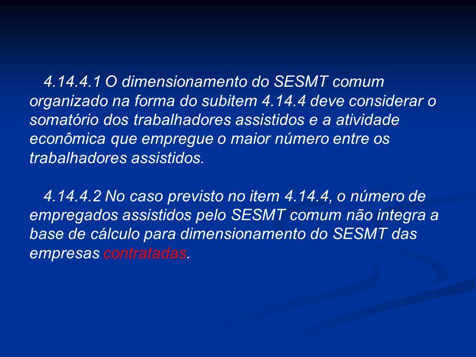4.14.3.4 O SESMT organizado conforme o subitem 4.14.3 deve ter seu funcionamento avaliado semestralmente, por Comissão composta de representantes das